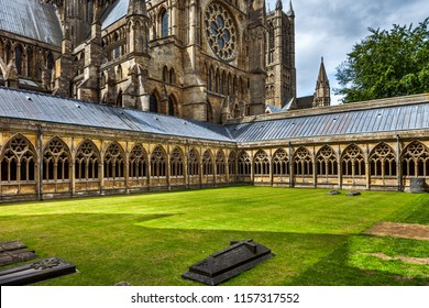 Cloisters at Lincoln Cathedral, Lincolnshire, UK.