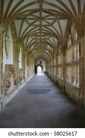 Cloisters in medieval cathedral, Wells, England