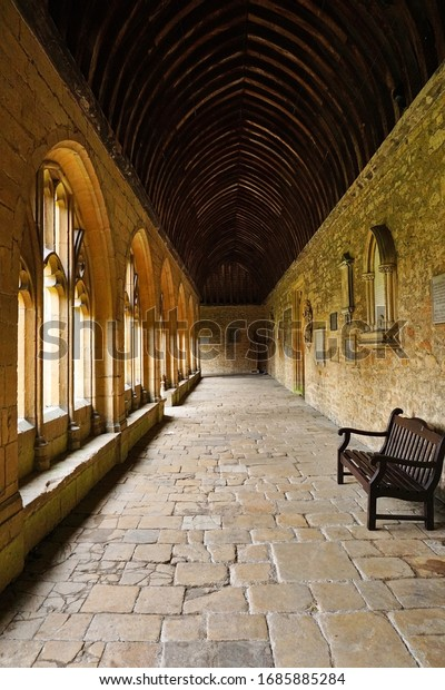 Cloisters of New College, University of Oxford, Oxford,England. Photo was taken on 01/08/2019. This is the place where the Harry Potter was filmed.