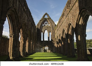The Cloisters in Sweetheart Abbey, New Abbey, near Dumfries, Scotland