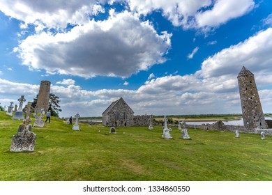 Clonmacnoise Ancient Place /Athlone/Ireland 05/10/2017 clonmacnoise general view beautiful partly cloudy day.   Ireland on the River Shannon south of Athlone. Clonmacnoise was founded in 544.