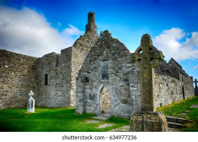 CLONMACNOISE, IRELAND - APRIL 15: Monastery ruins 15 April, 2017 at Clonmacnoise, Ireland. Clonmacnoise monastery was founded by St. Ciaran in the 6th century.