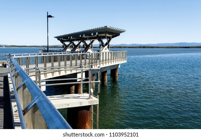 CLONTARF, AUSTRALIA – May 31, 2018:  View of the Hays Inlet Fishing and Recreation Platform located at the Clontarf end of the now demolished Hornibrook Bridge, in the Redcliffe Peninsula