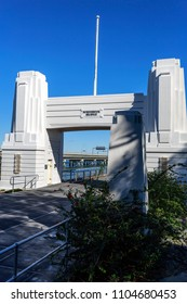 CLONTARF, AUSTRALIA – May 31, 2018:  Vertical view of the Art Deco concrete abutment portal arch which frame the north end of the Hornibrook Bridge