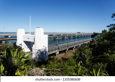 CLONTARF, AUSTRALIA – May 31, 2018:  The Hornibrook Bridge Art Deco portal with the two newer bridges in the background