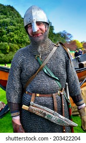 CLONTARF, IRELAND - APRIL 19: An English Viking re-enactor attending the 1,000th anniversary re-enactment of the Battle of Clontarf on April 19, 2014 in Clontarf, Ireland.