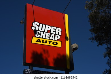 Clontarf, Queensland, Australia - August 21 2018: Tower sign outside SUper Cheap Auto retail outlet in Snook Street