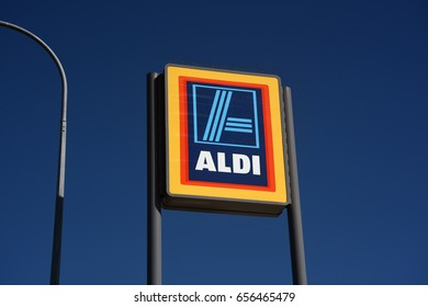 Clontarf, Redcliffe, Australia. May 2017 - editorial use only: Roadside sign for Aldi Australia supermarket