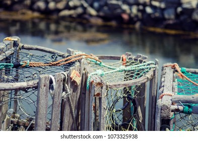 Clope-up of lobster traps in Nova Scotia