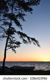 Clorful seaside sunset at the swedish island Oland in the Baltic Sea