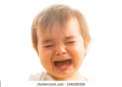Close up of a 1 year old baby girl crying