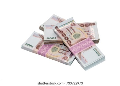 Close up of 100 bath Thai money on white background. ,Banknotes Thailand