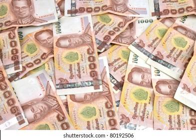 close up of 1000 baht banknotes, thailand money