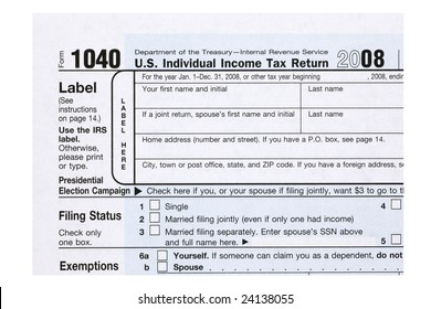 A close up of a 1040 tax form.