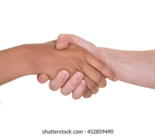 Close up of 2 hands shaking, one hand is black and one hand is white