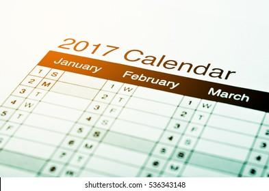 Close up 2017 calendar with lighting.