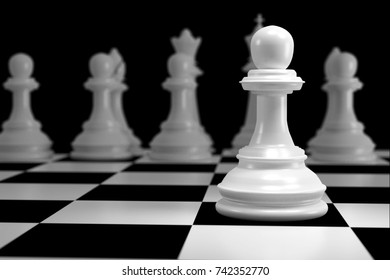Close up of 3d render White Chess on Chessboard as Strategy Sport Game Concept.