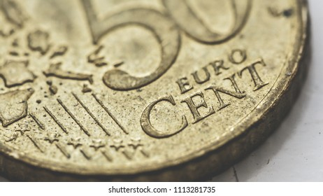 Close up of 50 Euro Cent Coin A, shallow depth of field macro photography