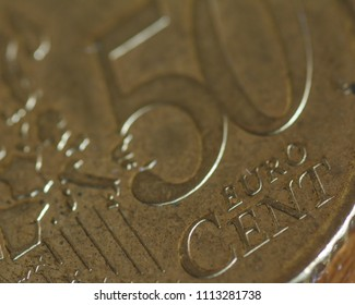 Close up of 50 Euro Cent Coin B, shallow depth of field macro photography