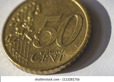 Close up of 50 Euro Cent Coin C, shallow depth of field macro photography
