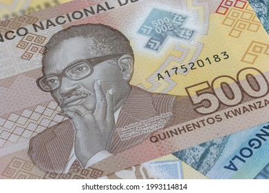 Close up to 500 Kwanza of the Republic of Angola. Polymer banknotes of the African country. Detailed capture of the front art design. Detailed money background wallpaper. Currency bank note Kwanzas