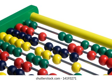 Close up of an abacus on white background