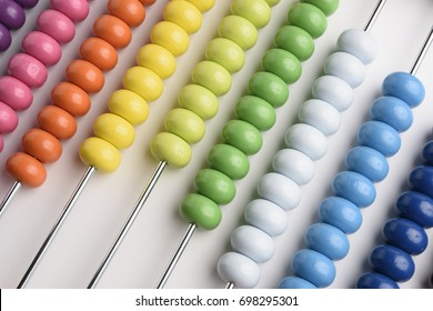 Close up abacus on white background