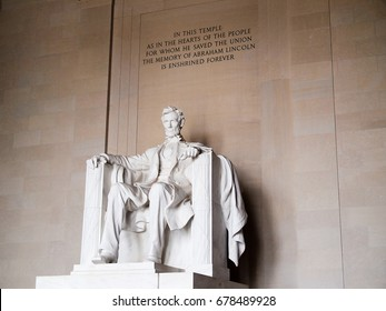Close up of Abe Lincoln statue inside the Lincoln Memorial, Washington D.C., United States of America