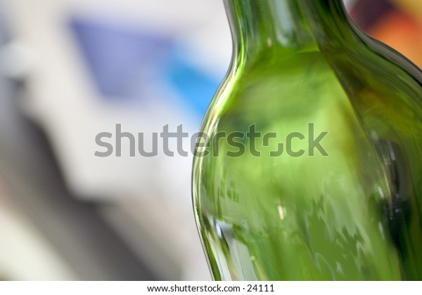 Close up abstract of green bottle.