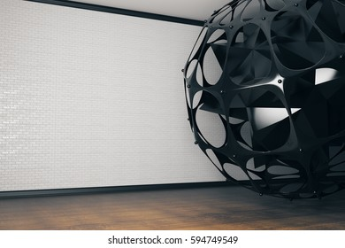 Close up of abstract patterned black sphere in modern interior with copy space on wall. Art concept. 3D Rendering