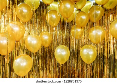 Close up and abstract of vintage gold balloons for background and texture - used in background for party celebration,New Year concept
