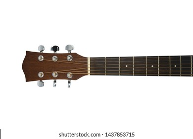 Close up acoustic guitar on the head isolated on white background with clipping path.