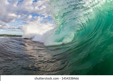 close up action scene inside a breaking wave