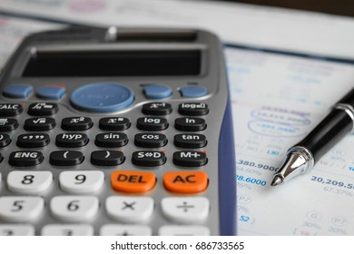 close up advance calculator for engineer or business on the finance paper.