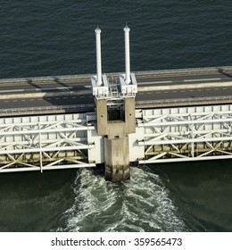 Close up aerial view of the Oosterscheldekering, a storm surge barrier which is part of the delta works to protect Holland from high sea level