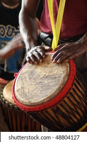 Close up of an African djembe drummer