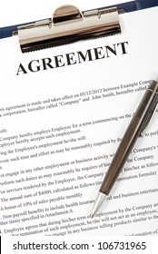 Close up of an agreement