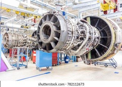Close up of airplane engine during maintenance