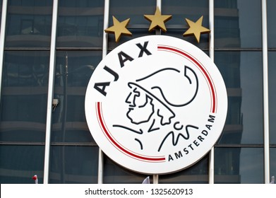 Close Up A AJAX Logo At Amsterdam The Netherlands 2019