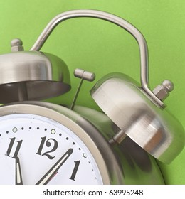 Close Up of Alarm Clock on a Vibrant Background.  Everyday Object Close Up.
