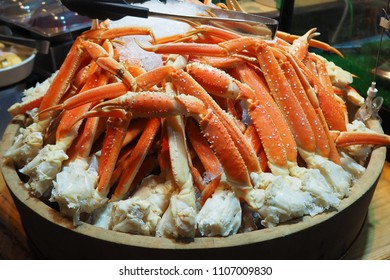 Close up Alaska King Crab legs on ice, Buffet line in Japan.
