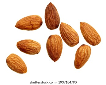 Close up of almond nuts isolated on white background.