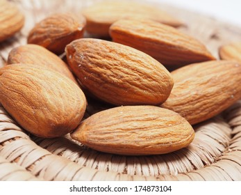Close up of almonds in a basket
