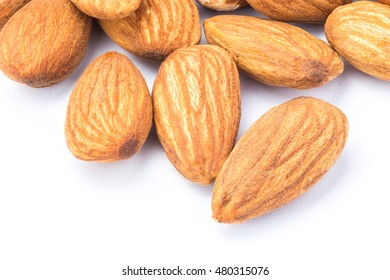 Close up of almonds on white