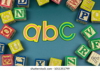 Close up alphabet on green board. Copy-space and education concept for book cover, poster or others content.