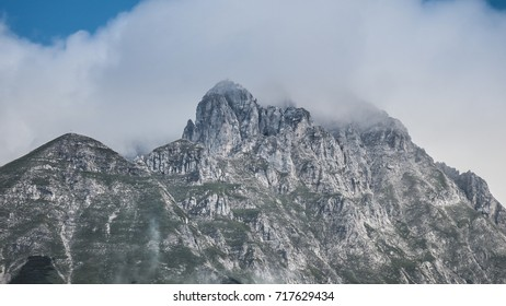 Close up of alpine mountain range in Innsbruck, Austria