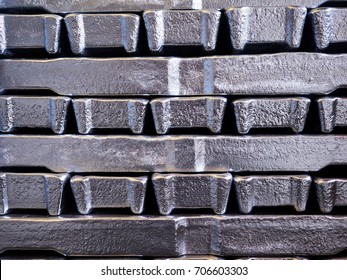 Close up aluminium ingot in bundle,Texture of aluminium ingot.