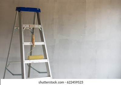 Close up aluminium ladder for a higher jobs for technician, mechanic, artisan, engineer, craftsman and etc.