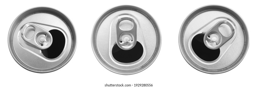 Close up of aluminum can on a top view isolated on white background. , soda can white and black. Open can