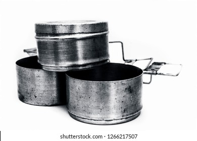 Close up of  aluminum tiffin box or lunch box isolated on white used by kids and employees to take their lunch or breakfast with them at office or school.